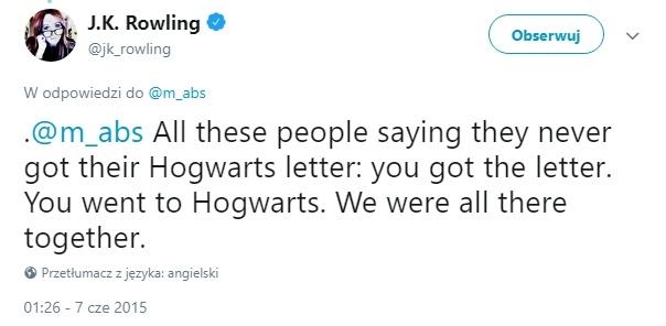 list z hogwartu - rowling