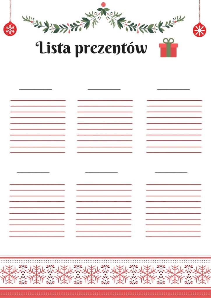 darmowa lista prezentów do druku